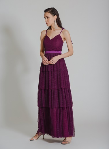 People By Fabrika Katlı Tül Abiye Elbise Mor